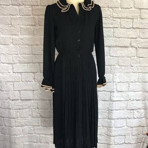 Vintage 70s Albert Nipon Black dress size small